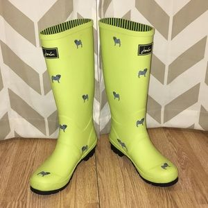 Joules Wellyprint Neon Pug Rainboots